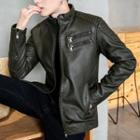 Faux-leather Zip-detail Jacket