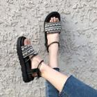 Patterened Ankle Strap Sandals