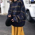 Striped Sweater / A-line Midi Skirt