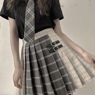Plaid Color Block Pleated Skirt