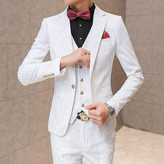 Set: Pinstriped Blazer + Vest + Dress Pants