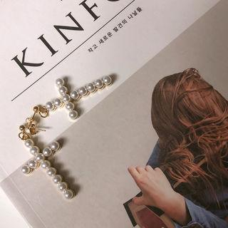 Faux-pearl Cross Earrings Gold - One Size