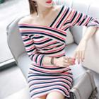 V-neck Striped Sheath Dress