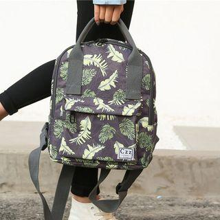 Faux Leather Leaf Print Backpack Leaf - Green & Purple - One Size