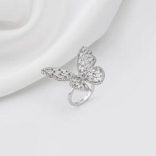 Rhinestone Butterfly Open Ring J522 - As Shown In Figure - One Size