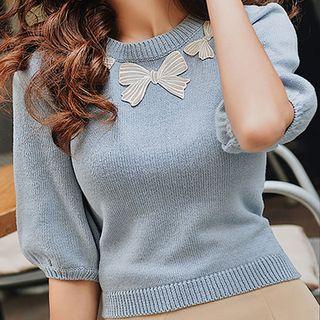 Elbow-sleeve Bow Accent Knit Top