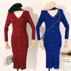 Long-sleeve Studded Open Front Midi Knit Dress