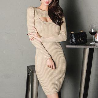 Long-sleeve Cutout Mini Sheath Knit Dress Khaki - One Size