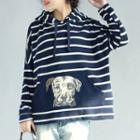 Dog Print Striped Hoodie