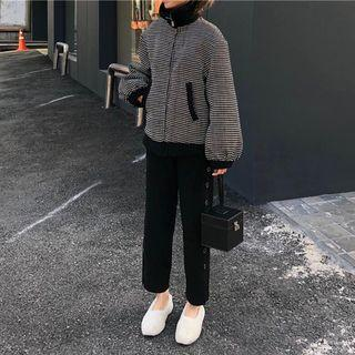 Padded Zip-up Jacket / Button Detail Cropped Knit Pants