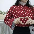 Mesh Panel Dotted Blouse