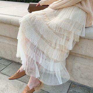 Fringed Chiffon Layered Skirt