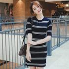 Short-sleeve Stripe Knit Sheath Dress