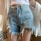 Irregular Hem Denim Shorts