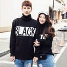 Turtleneck Lettering Couple Matching Sweater