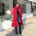 Hooded Funnel-neck Long Puffer Coat