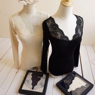 Set: Lace Trim Long Sleeve Top + Leggings