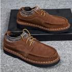 Genuine Leather Knit Panel Oxfords