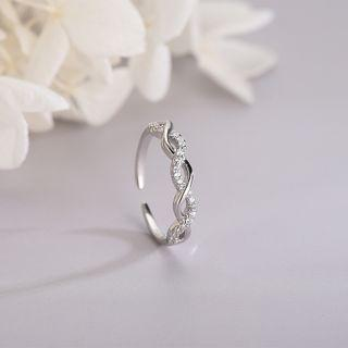 925 Sterling Silver Rhinestone Open Ring Rs495 - Platinum - One Size