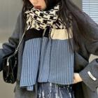 Houndstooth Colour Block Knit Scarf