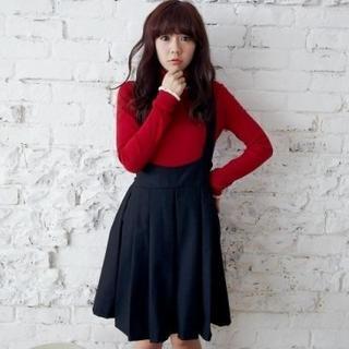 Pleated Suspender Skirt