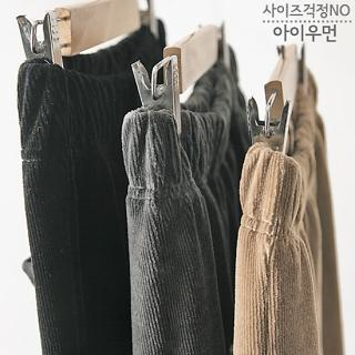 Band-waist Corduroy Pants