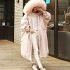Fluffy Trim Hooded Padded Coat