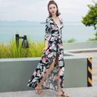Floral Print Elbow Sleeve Maxi Dress