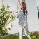 Striped High-low Dolman Knit Top