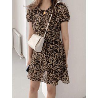 Round-neck Leopard A-line Dress One Size