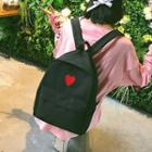 Heart-print Canvas Backpack With Pouch