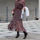 Dip-back Patterned Sheer Chiffon Dress