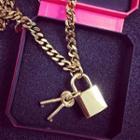 Padlock & Keys Long Necklace