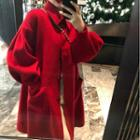 Collared Single-breasted Coat Coat - Red - One Size