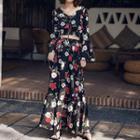 Set: Long-sleeve Floral Print Top + Maxi Skirt