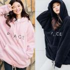 Hooded Kangaroo-pocket Lettering Fleece Pullover