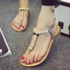 Faux-pearl Flat Sandals