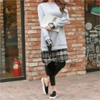 Mock Plaid Shirt Long Sweatshirt