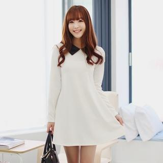 Long-sleeve A-line Minidress