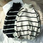 Embroidered Striped Turtleneck Sweater