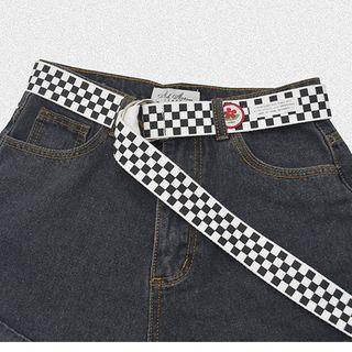 Checkered Canvas Belt Black & White - One Size
