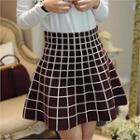 Band-waist Checked Skirt
