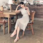 Tie-waist Pattern Chiffon Dress