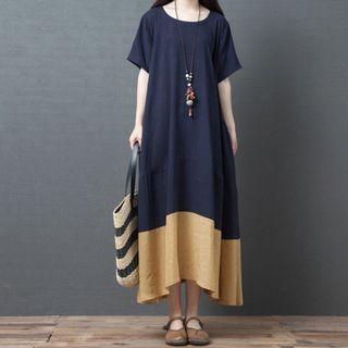 Two-tone Short-sleeve Midi Shift Dress