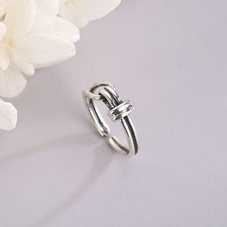 925 Sterling Silver Knot Open Ring Rs511 - Silver - One Size