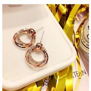 Rhinestone Alloy Hoop Dangle Earring 1 Pair - Gold - One Size