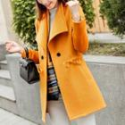 Drawstring Waist Double-breasted Coat