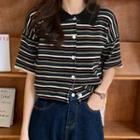 Striped Collared Short-sleeve Cardigan