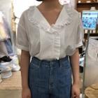 Frill-trim Short-sleeve Shirt