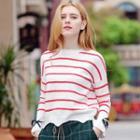 Striped Wave Hem Sweater